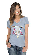 Rock & Roll Cowgirl Women's Light Blue with Steer Graphic Screen Print Short Sleeve Casual Knit Shirt