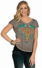 Rock and Roll Cowgirl Women's Grey Aztec Screen Print Knit Top