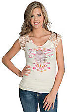 Rock & Roll Cowgirl Women's Ivory Lace Cap Sleeve Top with Skull