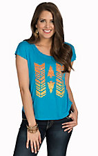 Rock & Roll Cowgirl Women's Turquoise with Orange Arrow Design Hi-Low Short Sleeve Tee