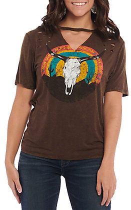 Rock & Roll Cowgirl Women's Distressed Brown Steerhead Casual Knit Top