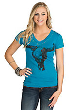 Rock & Roll Cowgirl Women's Turquoise with Black Rhinestud Steer Head Short Sleeve Burnout Tee