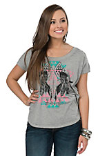 Rock & Roll Cowgirl Women's Grey Aztec Skull Boxy Burnout Tee