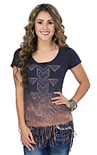 Rock & Roll Cowgirl Women's Navy & Rust with Rhinestuds Fringe Short Sleeve Top