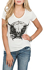 Rock & Roll Cowgirl Women's White Steer Graphic Loose Fit Casual Knit Shirt