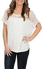 Rock & Roll Cowgirl Women's White Dolman w/ Lace Trim Fashion Shirt