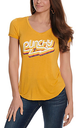 Rock & Roll Cowgirl Women's Mustard Punchy Short Sleeve V-Neck Casual Knit Tee