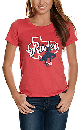 Rock & Roll Cowgirl Women's Red Texas Rodeo Graphic Short Sleeve Casual Knit Tee