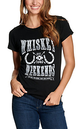 Rock & Roll Cowgirl Women's Black Whiskey Weekends Short Rolled Sleeves Tee