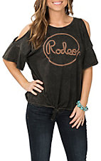 Rock and Roll Cowgirl Black Rope Graphic Cold Shoulder Fashion Shirt