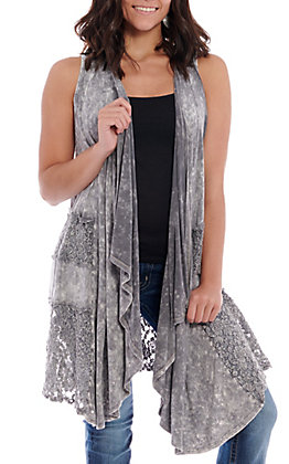 Rock & Roll Cowgirl Women's Light Grey with Cascade Front Vest