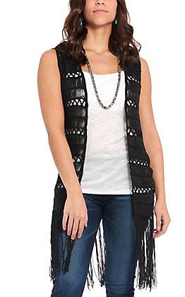 Rock & Roll Cowgirl Women's Black Crochet Fringe Bottom Long Vest