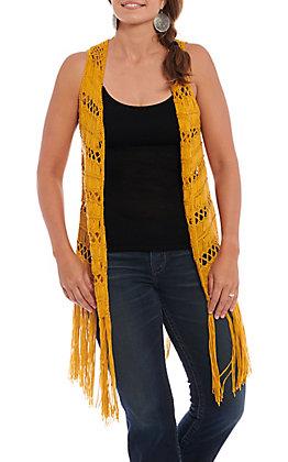 Rock & Roll Cowgirl Women's Mustard Crochet Fringed Vest
