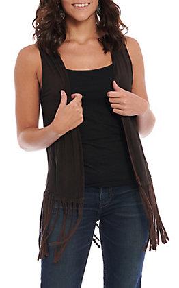 Rock & Roll Cowgirl Women's Distressed Brown Fringe Vest