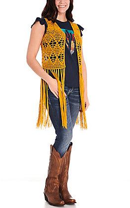 Rock & Roll Cowgirl Women's Mustard Crochet Fringe Vest