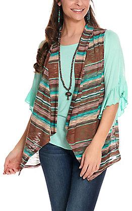Rock & Roll Cowgirl Women's Teal & Brown Stripe Knit Vest