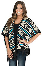 Rock & Roll Cowgirl Women's Charcoal, Cream & Turquoise Aztec Print 1/2 Sleeve Sweater Cardigan