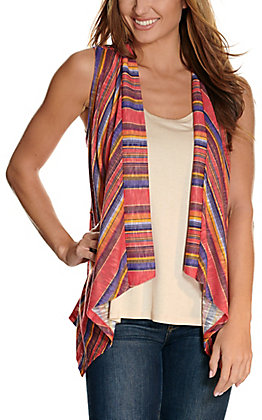 Rock & Roll Cowgirl Women's Red, Blue & Gold Serape Knit Vest