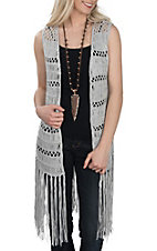 Rock & Roll Cowgirl Women's Silver Long Crochet Vest w/ Fringe