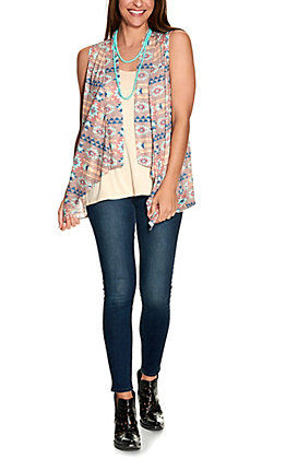 Rock & Roll Cowgirl Women's Tan with Multi Aztec Print Knit Vest