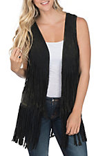 Rock and Roll Cowgirl Women's Dark Brown Double Fringe Vest