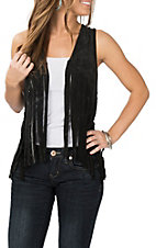 Rock and Roll Cowgirl Black Fringe Vest