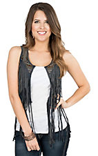 Rock & Roll Cowgirl Women's Grey with Fringe and Studs Vest