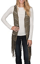 Rock & Roll Cowgirl Women's Green Long Crochet Fringe Vest