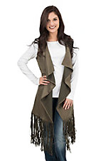 Rock & Roll Cowgirl Women's Olive Faux Suede with Fringe on Bottom Sleeveless Long Vest