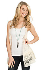 Rock & Roll Cowgirl Women's Cream Lace Sleeveless Vest
