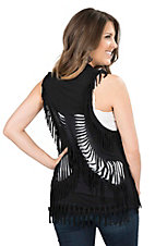 Rock & Roll Cowgirl Women's Black with Fringe and Cut Outs Sleeveless Vest