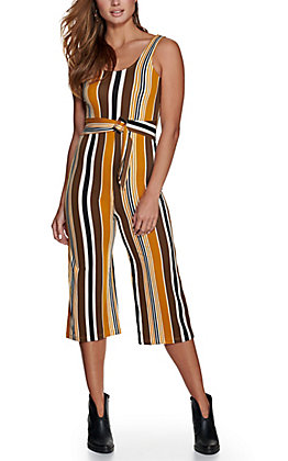 Bailey Blue Women's Mustard, Brown and Navy Striped Sleeveless Jumpsuit