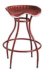 Evergreen Red Metal Tractor Seat Stool