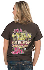Girlie Girl Originals Women's Chocolate with I'm A 4-Wheeler Ridin' Mud Slinging' Camo Wearin' Kinda Girl Short Sleeve Tee