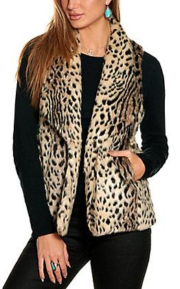 Magnolia Lane Women's Tan Leopard Faux Fur Vest