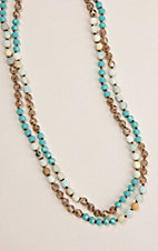 Grace & Emma Turquoise and Sand Beaded Necklace