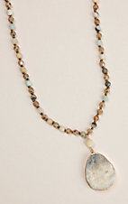 Grace & Emma Seafoam Mist Multi Beaded with Drop Stone Necklace