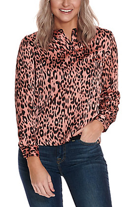 Newbury Kustom Women's Pink with Leopard Print Silky Long Sleeve Fashion Top
