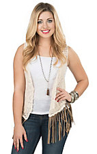 Origmai Women's Cream Crochet with Taupe Fringe Vest