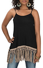 Origami Women's Black Tan Fringe Spaghetti Strap Tank Fashion Shirt