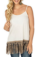 Origami Women's White Tan Fringe Spaghetti Strap Tank Fashion Shirt