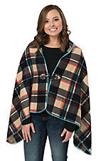 Origami Women's Navy Multicolor Plaid Poncho Cape