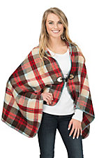 Origami Women's Red Multicolor Plaid Poncho Cape