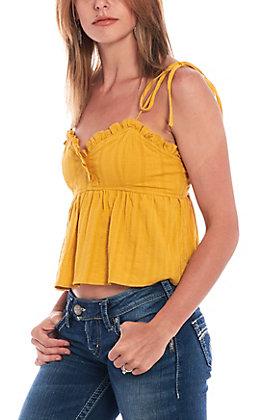 Newbury Kustom Women's Mustard Tie Shoulder Tank Top