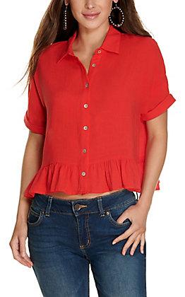 Newbury Kustom Women's Red Button Down Peplum Short Sleeve Fashion Top