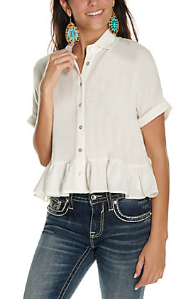 Newbury Kustom Women's White Button Down Peplum Short Sleeve Fashion Top