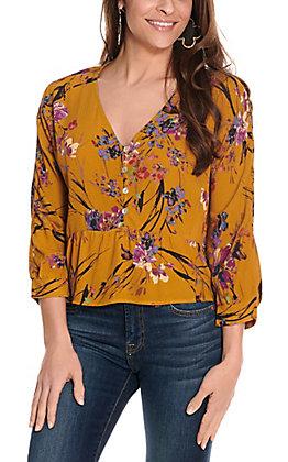 Newbury Kustom Women's Mustard Floral Print Long Sleeve Fashion Top