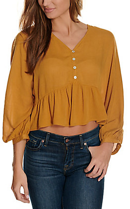 Newbury Kustom Women's Mustard with Buttons Long Sleeve Fashion Top