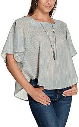 Newbury Kustom Women's Blue and Sage Stripes Square Neck Short Sleeve Fashion Top