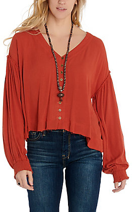 Newbury Kustom Women's Rust Button Front Fashion Top